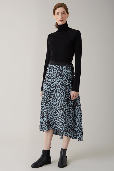 Ice/Graphite Sarina Silk Wrap Skirt
