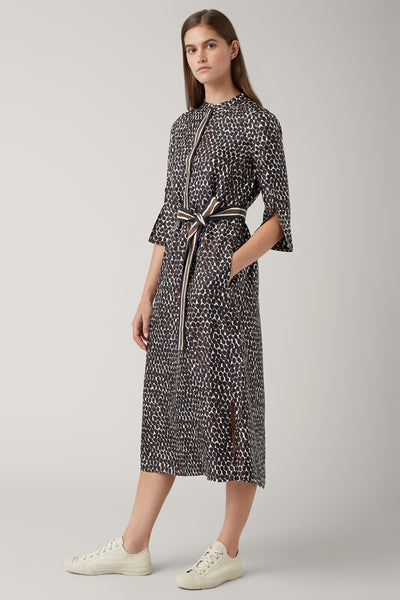 Pecan/Black Alicia Silk Midi Tie Waist Dress