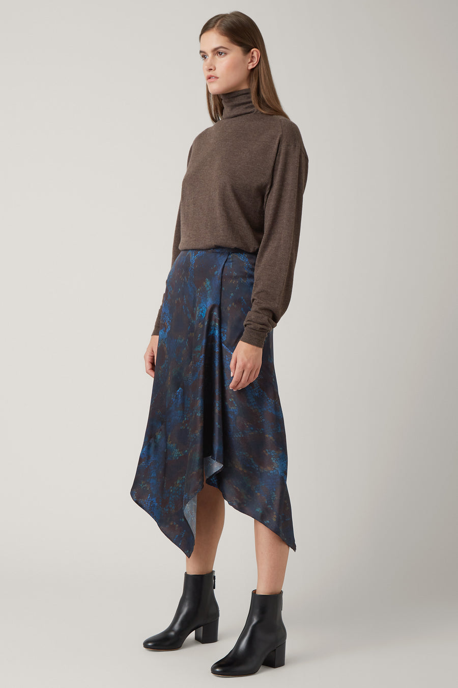 Ink/Nutmeg Irina Silk Printed Skirt