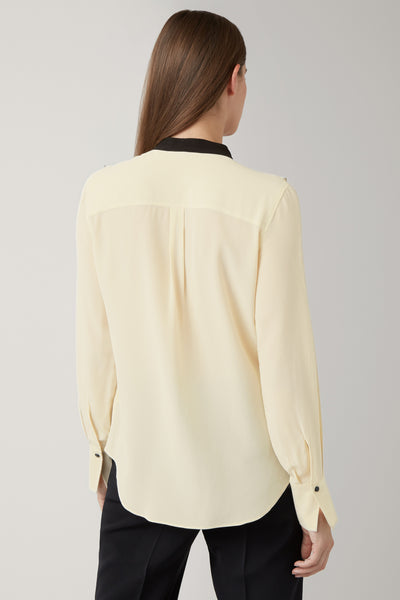Darklatte/Black Fay Silk Frill Blouse