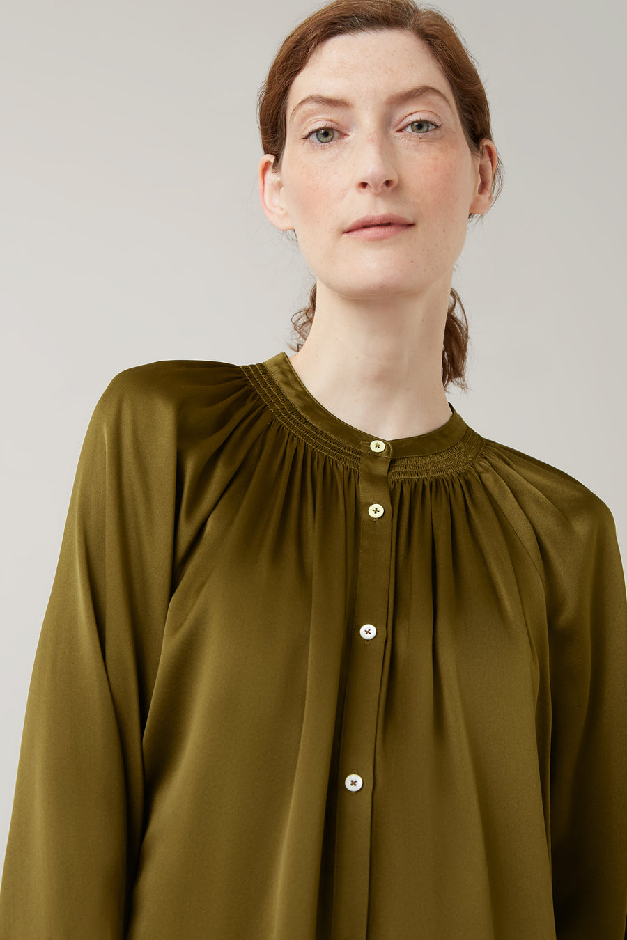 Nutmeg Annette Silk Gathered Blouse