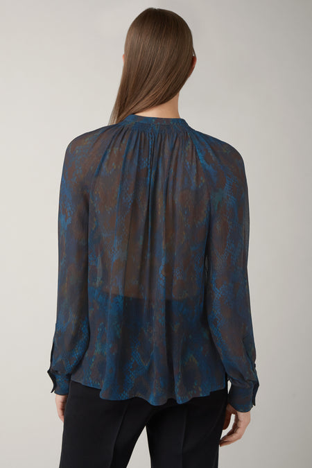 Ink/Nutmeg Annette Silk Gathered Blouse