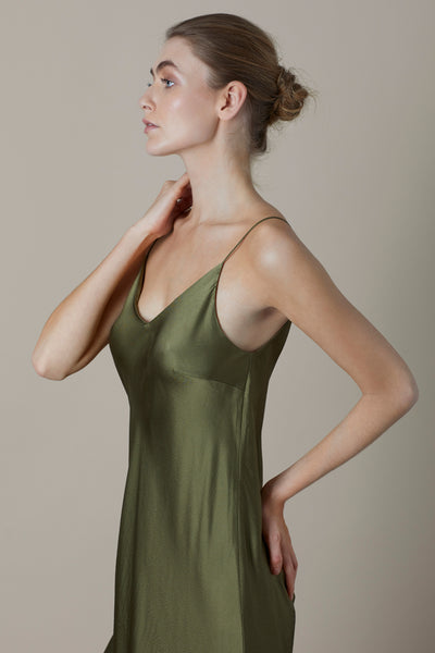 Basil Heather Silk Slip Dress