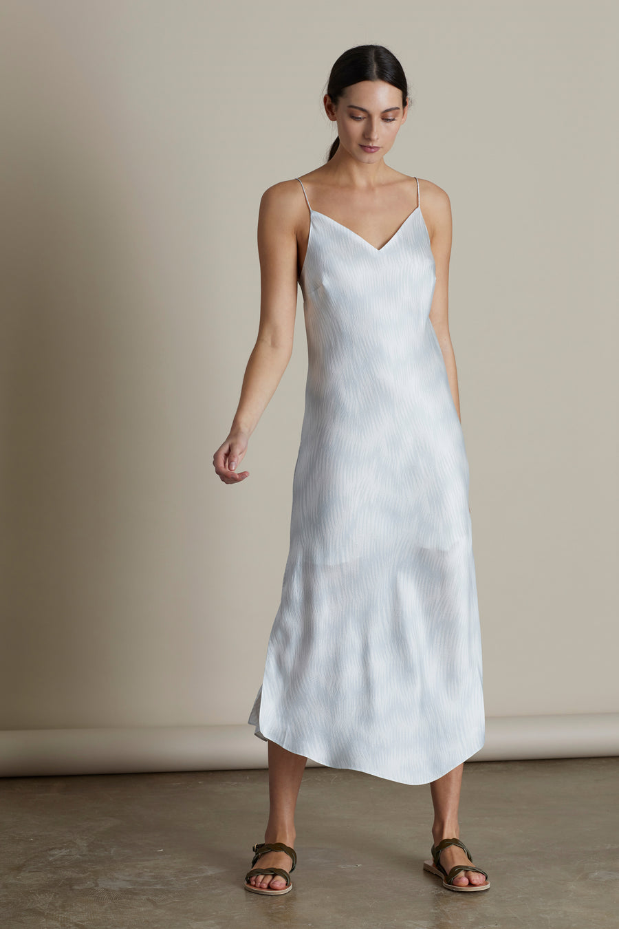 Ice Heather Silk Slip Dress