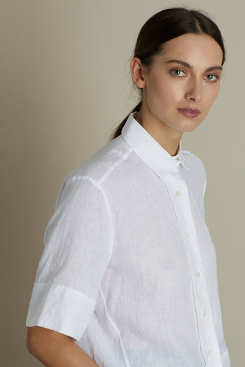 White Stella Boxy Button Through Shirt