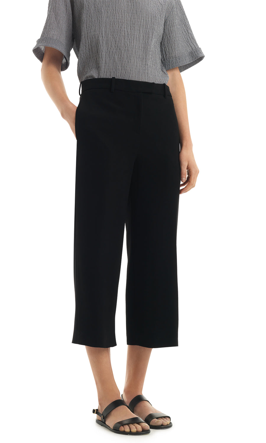 Black Cropped Bardy Trouser