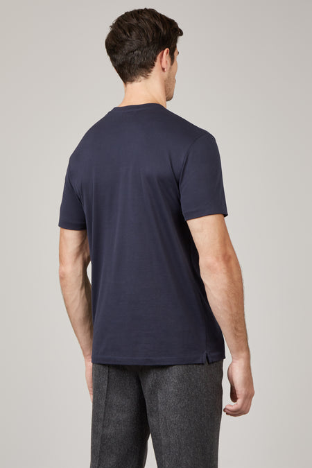 Navy David Cotton T-Shirt