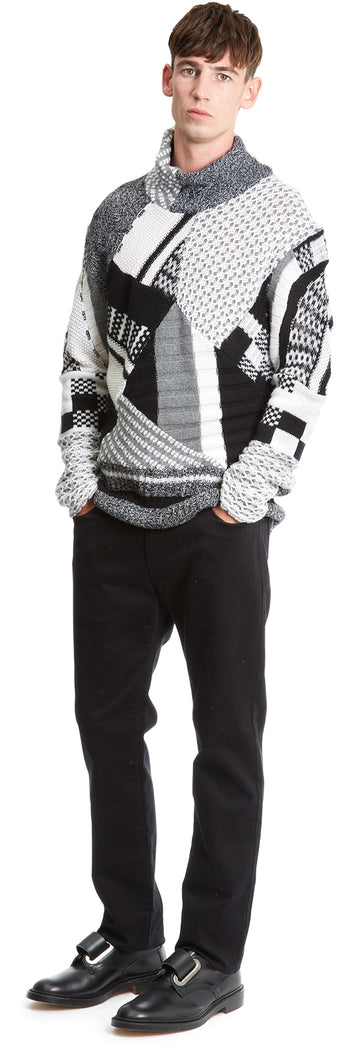 Black/ecru Patchwork Knit High Neck Jumper