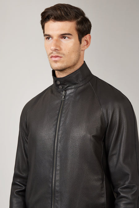 Black Arnet Leather Harrington