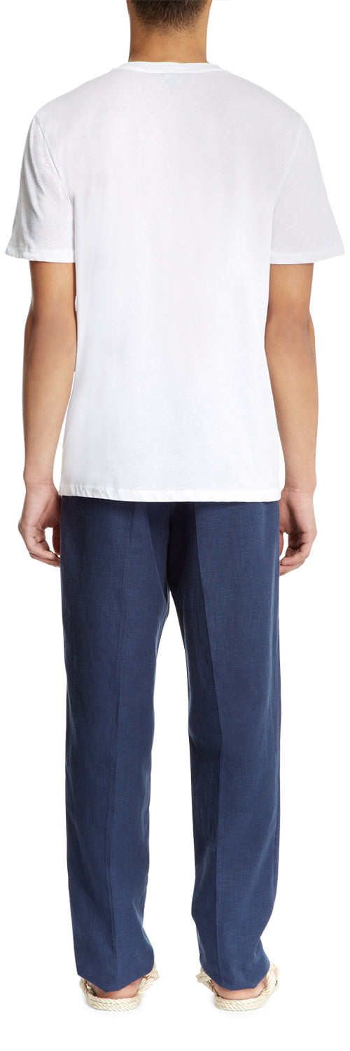 Blue Single Pleat Trousers