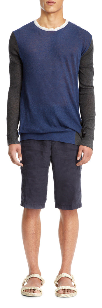 Grey/blue Cotton Twist Jumper