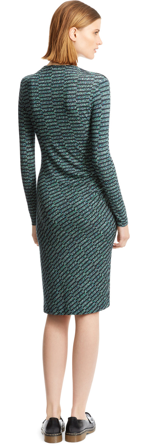 Blue/Green Spray Tweed Print Dress