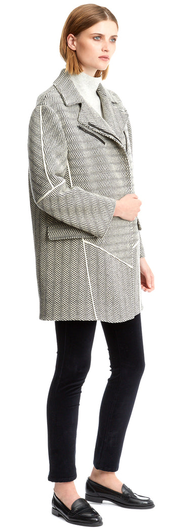 Ecru/Grey Animal Tweed Long Biker