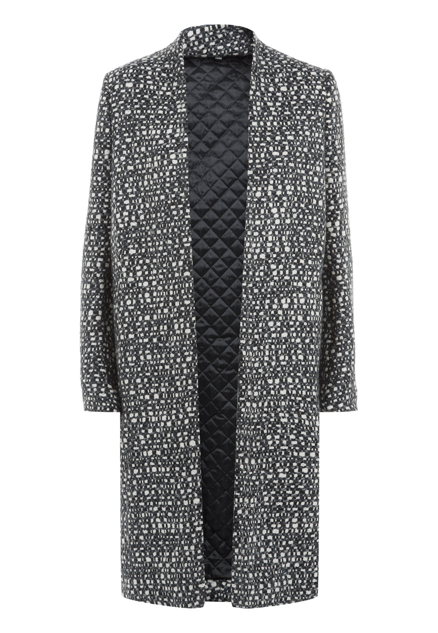 Black/White Graphic Tweed Coat