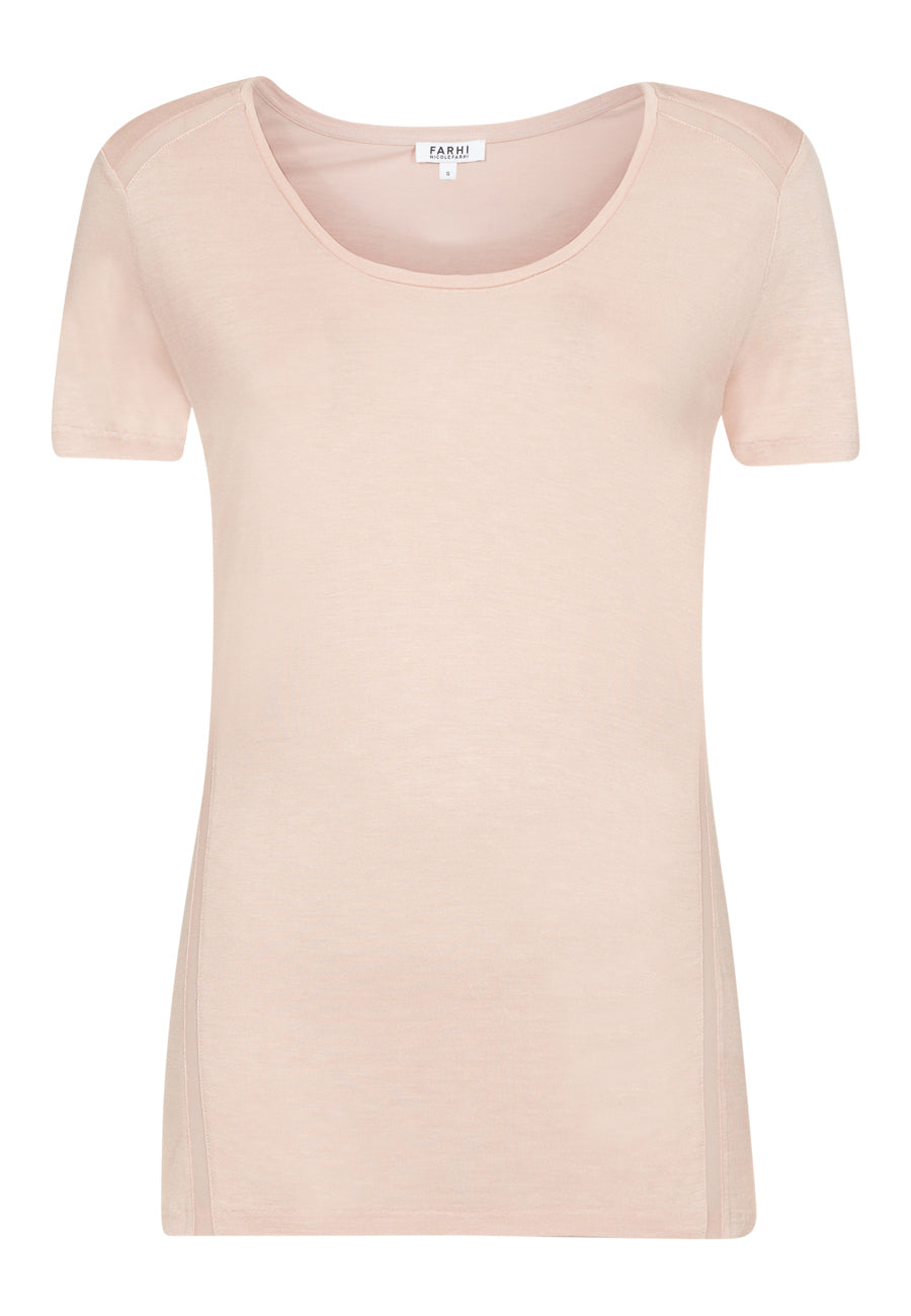 Powder Chiffon Trim Tee
