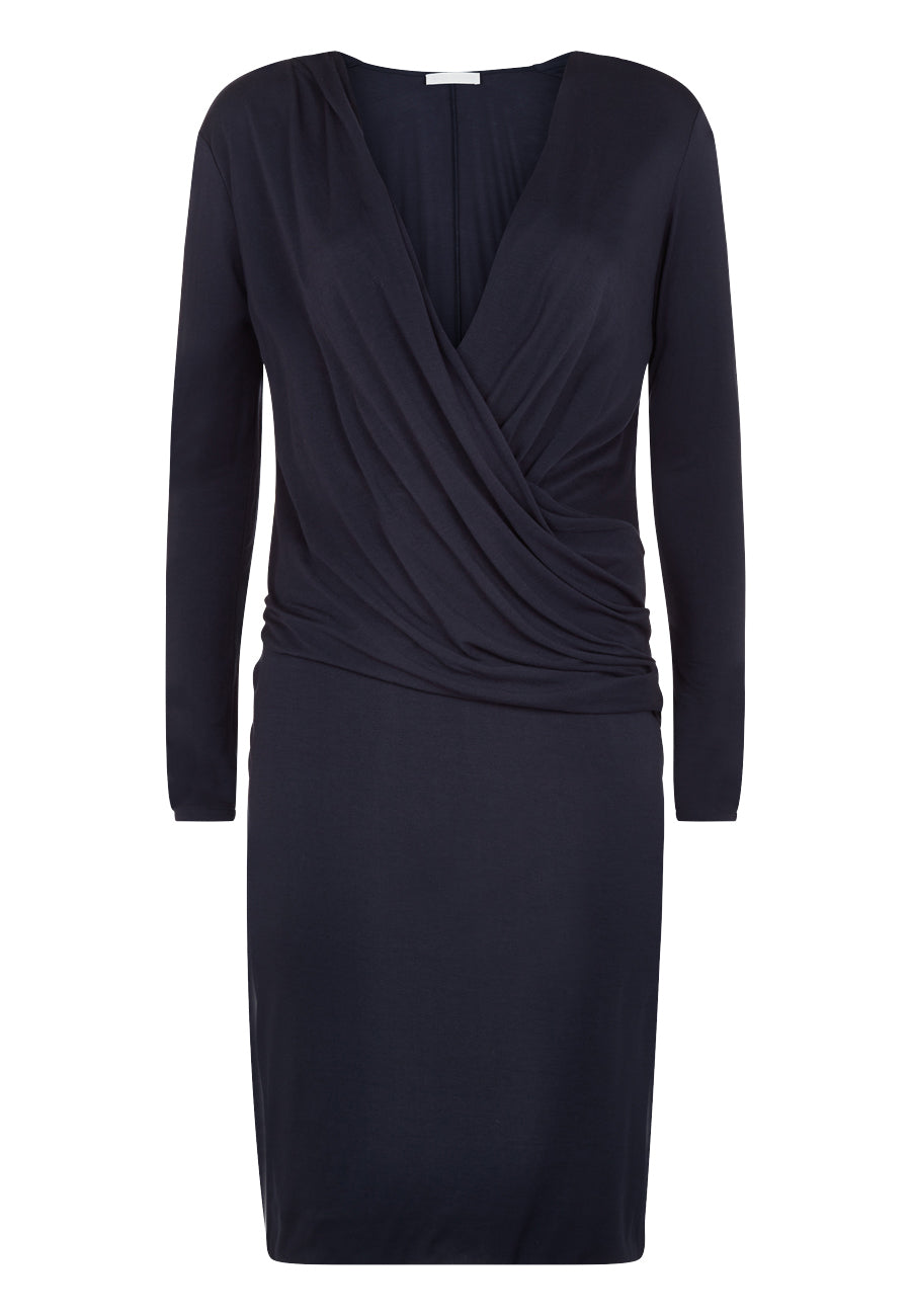 Ink V Neck Drape Dress