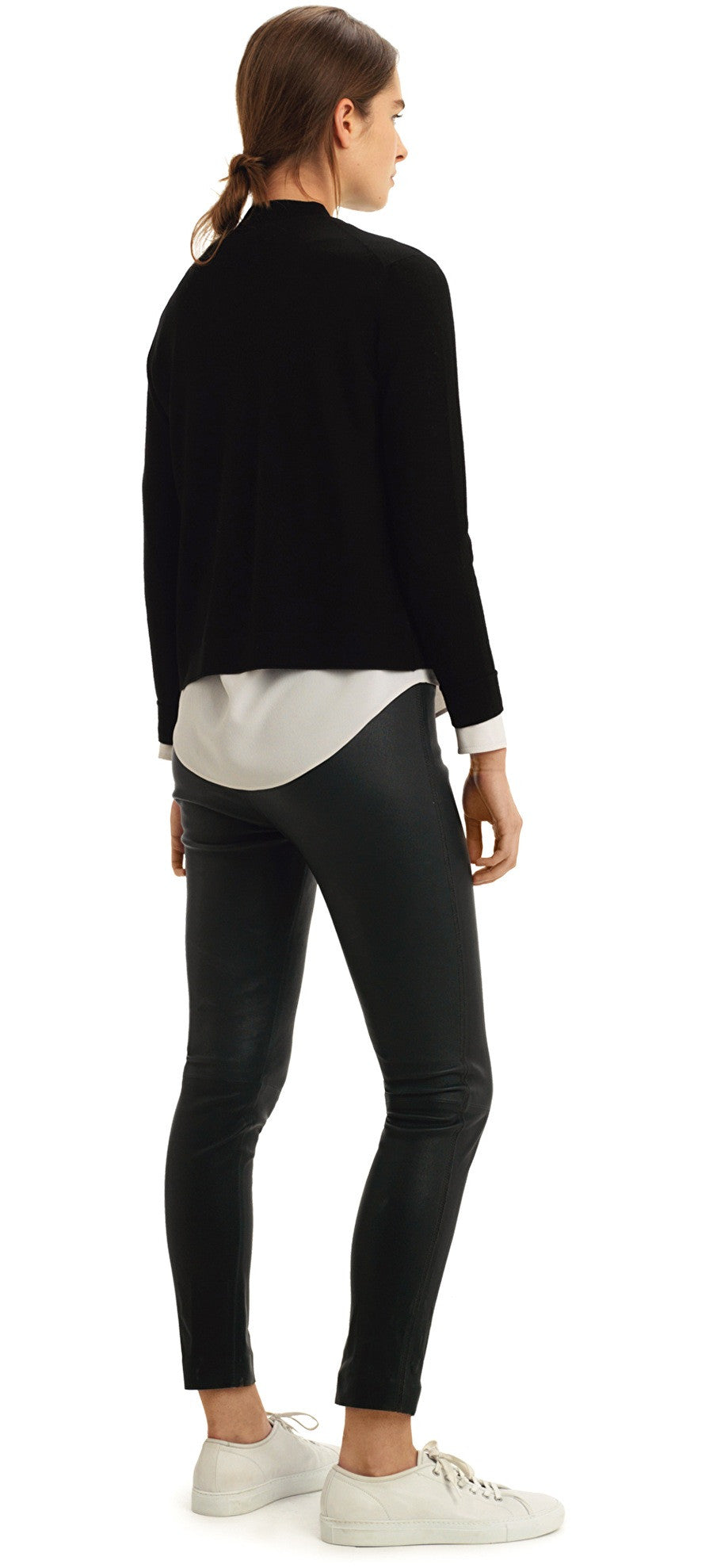 MEY MERINO BLACK FUNNEL NECK