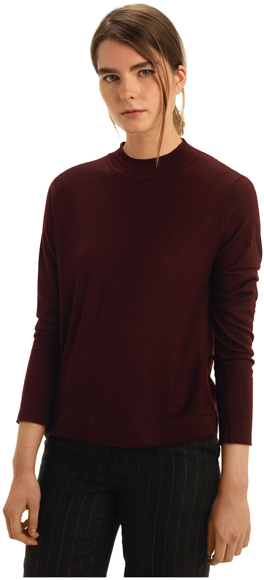 MEY MERINO RED FUNNEL NECK