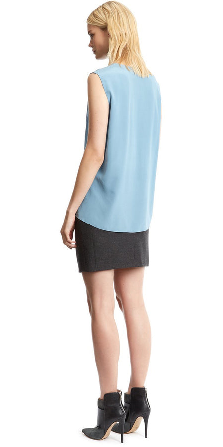 Duck Egg Patchwork Silk Ribbed Top