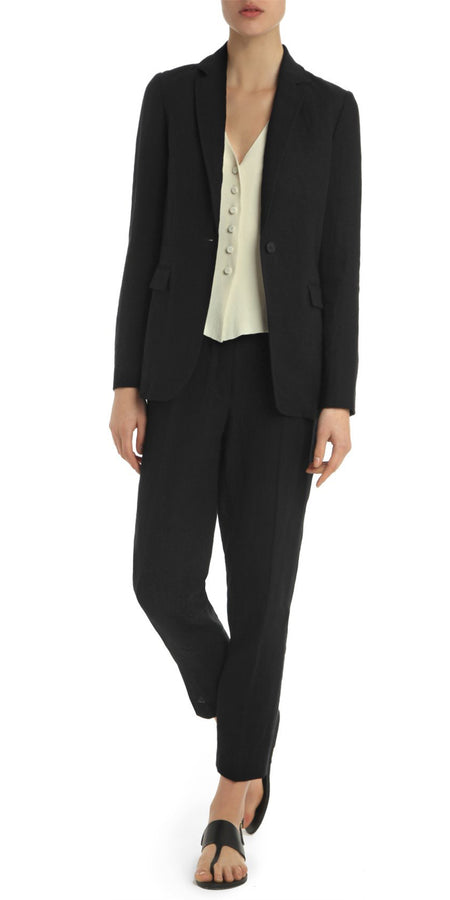 Black Tailored Linen Blazer