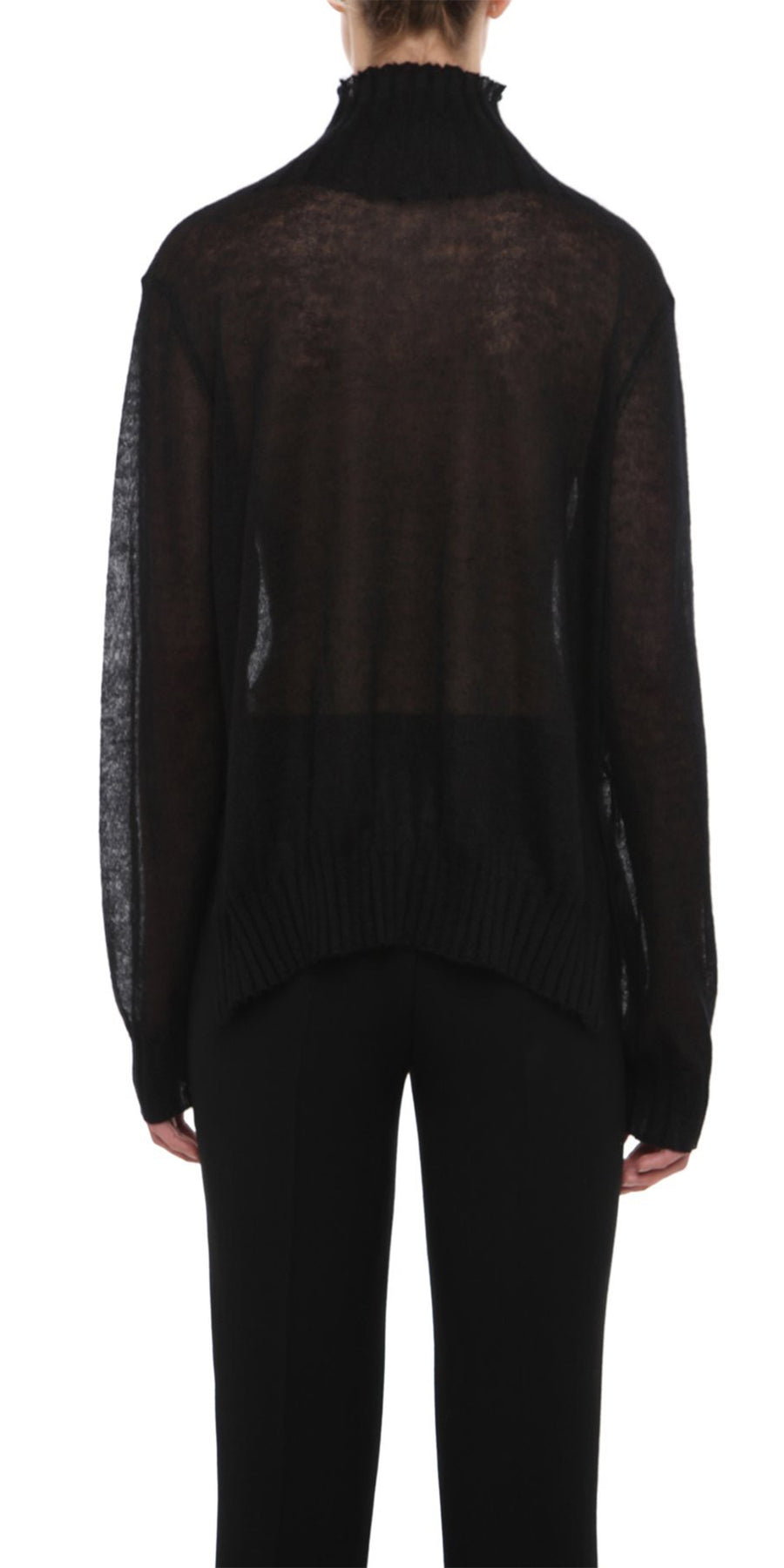 HIRASE BLACK FUNNEL NECK JUMPER