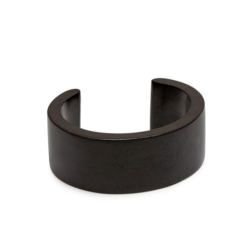 Black wood Signature Cuff - Silver