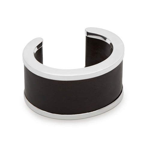 Black wood & Silver Signature Cuff