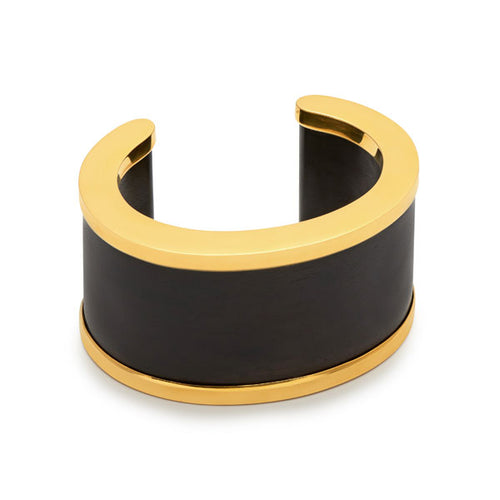 Black wood & Gold Plate Signature Cuff