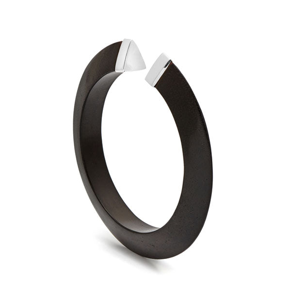 Black wood Open Tribe Bangle- Silver