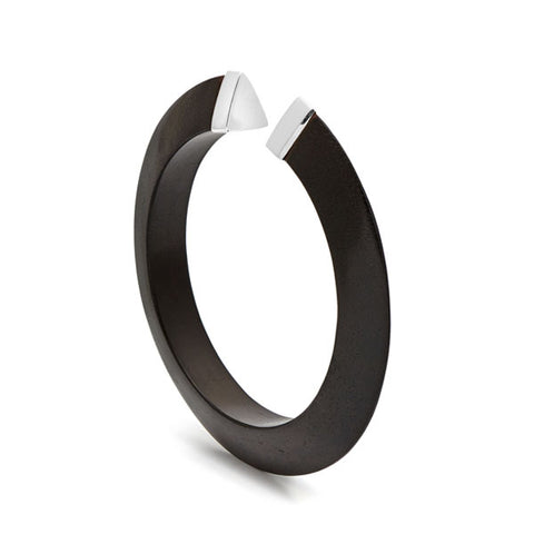 Slim Black wood hoop earring - Gold