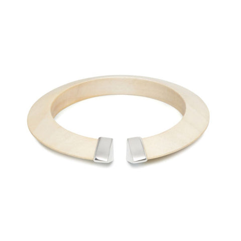 White Wood Wrap Over Bangle - Silver