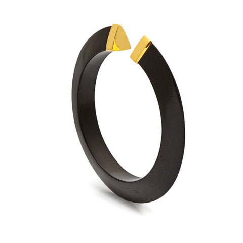 Studded Black wood bangle - Silver