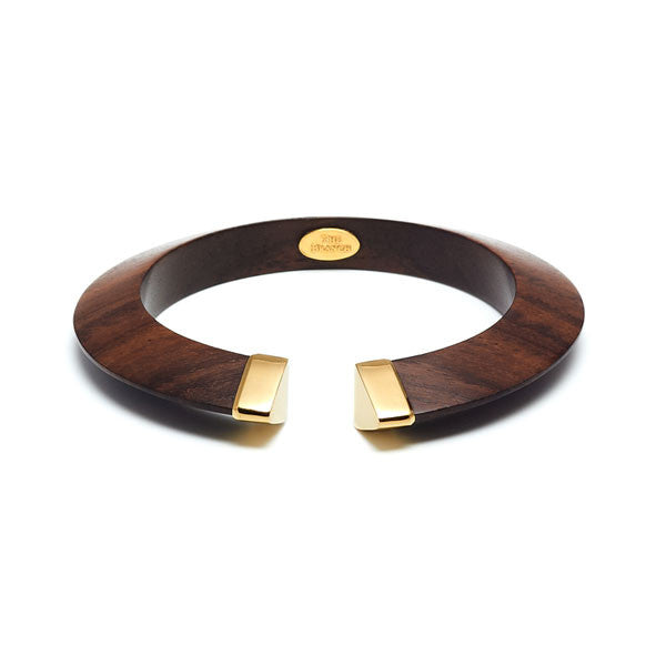 Branch jewellery - Rosewood bangle with gold plates capped ends