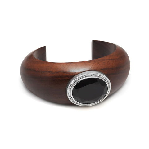 Rosewood Wrap Over Bangle - Silver