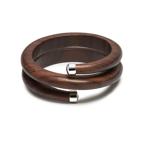 Branch Jewellery - Brown wood spiral bangle with silver capped ends
