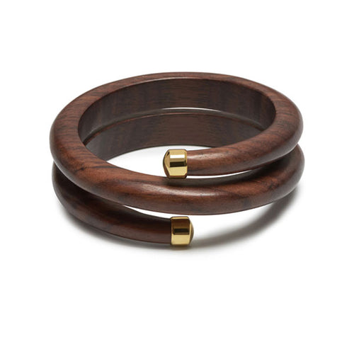 Rosewood and gold plate Spiral Bangle