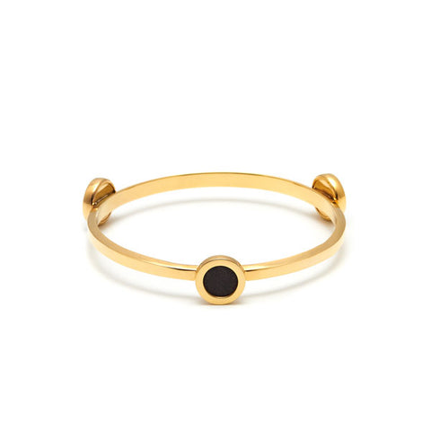 Rosewood gold plate groove detail ring