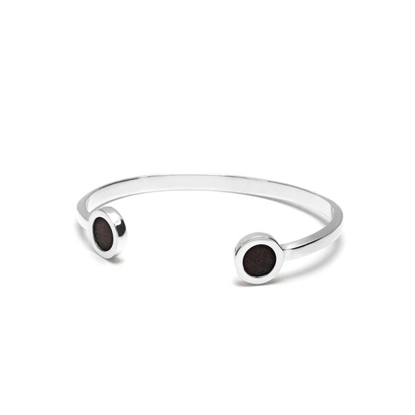 Rosewood and Silver disc cuff