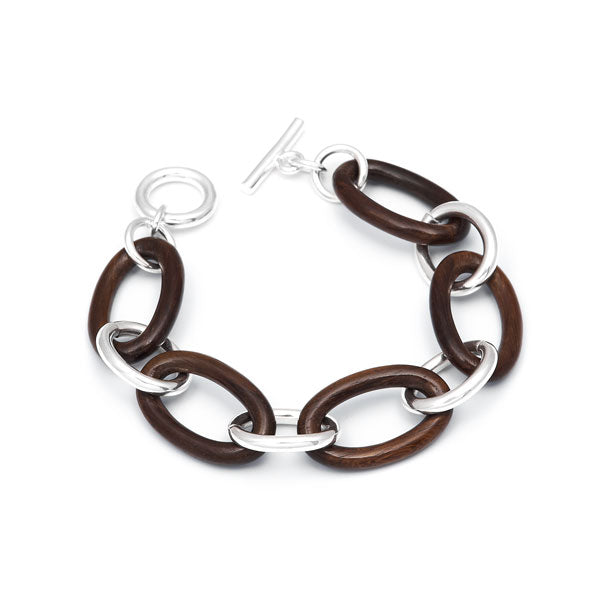 Rosewood and Silver Chain Link Bracelet