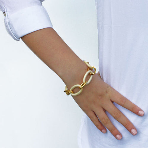 Gold and Hand Carved White Wood Bracelet