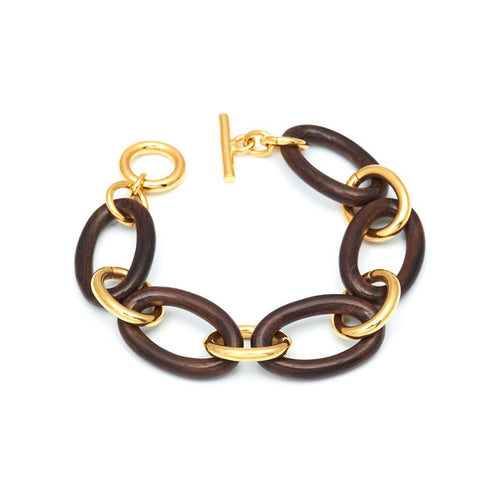 Gold and Hand carved Rosewood Link Bracelet