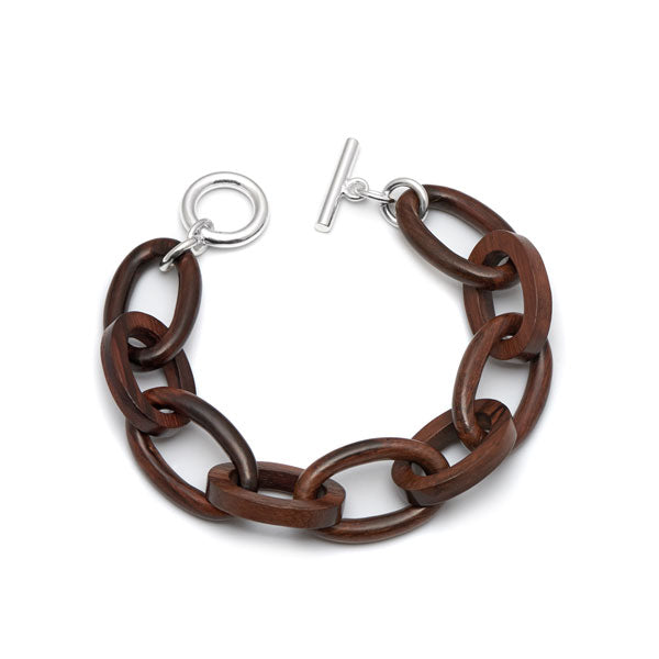 Branch Jewellery - Rosewood oval link bracelet with silver clasp