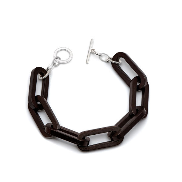 Branch Jewellery - Black wood rectangle link bracelet with silver clasp