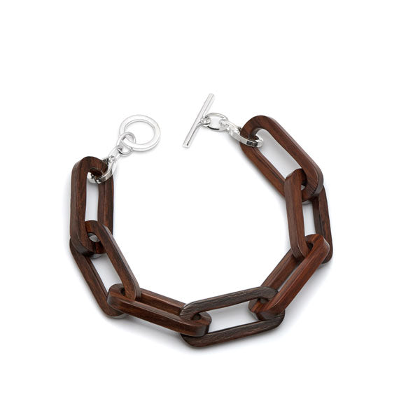 Branch Jewellery - Brown wood rectangle link bracelet with silver clasp