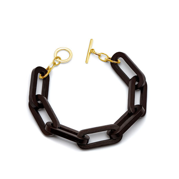 Rectangular link bracelet - Black wood & gold plate