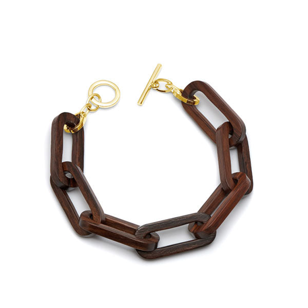 Branch Jewellery - Brown wood rectangle link bracelet with gold clasp