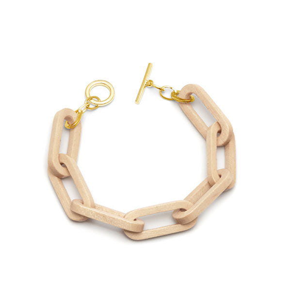 Rectangular link bracelet - White wood & gold plate