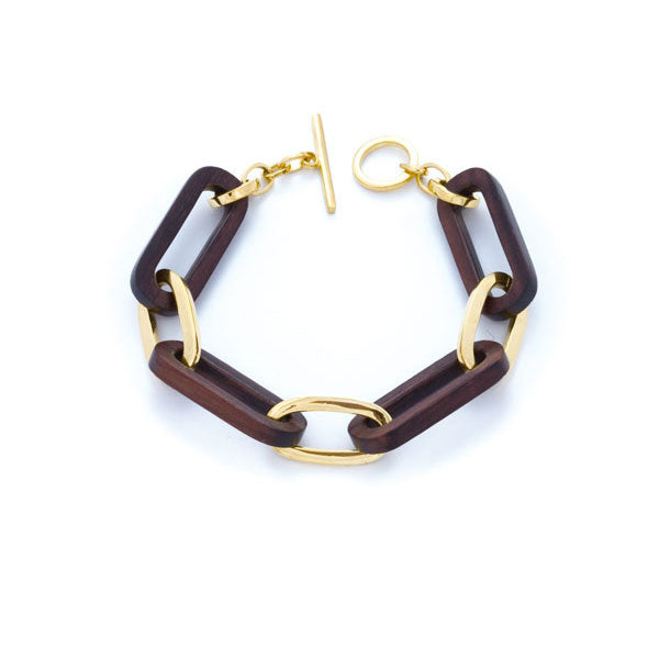 Gold Oval and Rosewood Link Bracelet