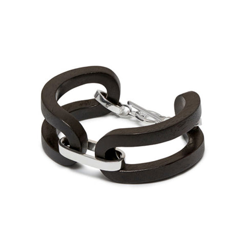 Black wood curb link bracelet - Silver