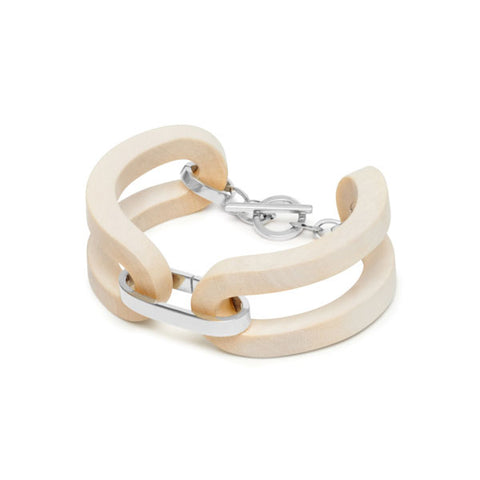 Oval link bracelet - White Wood & Gold plate